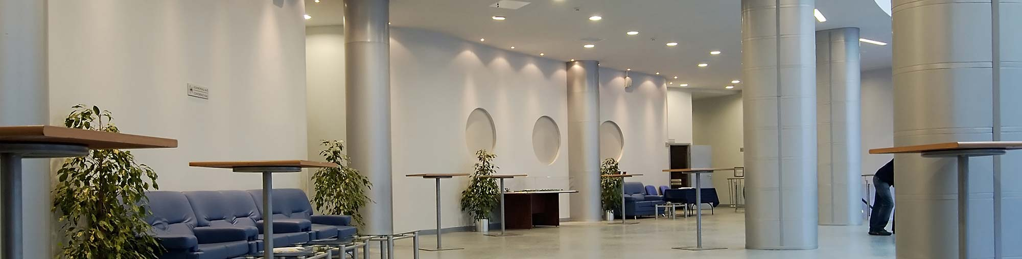 Foyer with pillars in office building