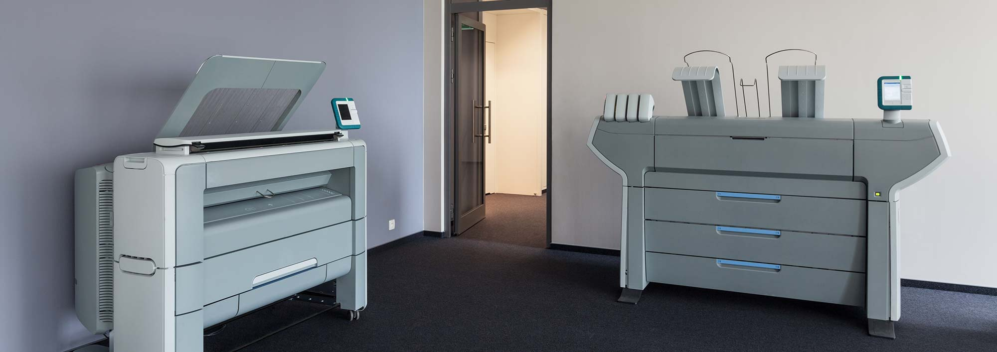 Office with printing equipment
